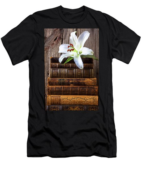 White Lily On Antique Books Men's T-Shirt (Athletic Fit)