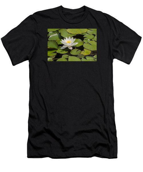Men's T-Shirt (Slim Fit) featuring the photograph White Lotus Flower by JT Lewis