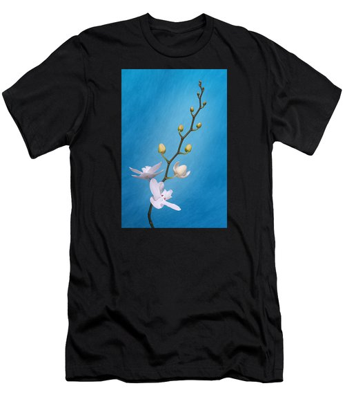 White Orchid Buds On Blue Men's T-Shirt (Athletic Fit)
