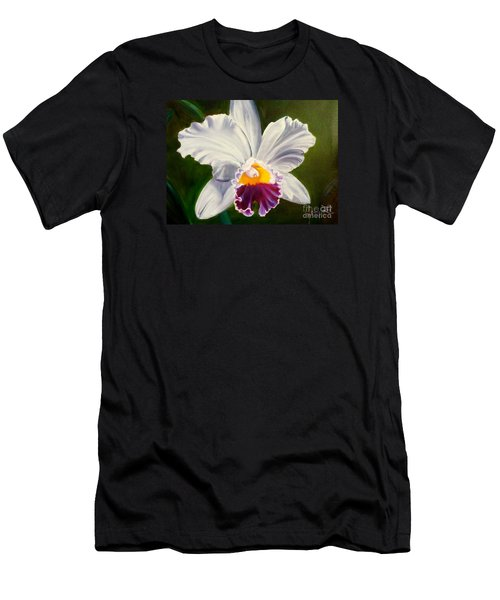 Men's T-Shirt (Slim Fit) featuring the painting White Orchid by Jenny Lee