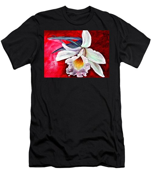Men's T-Shirt (Athletic Fit) featuring the painting White Orchid by Ryn Shell