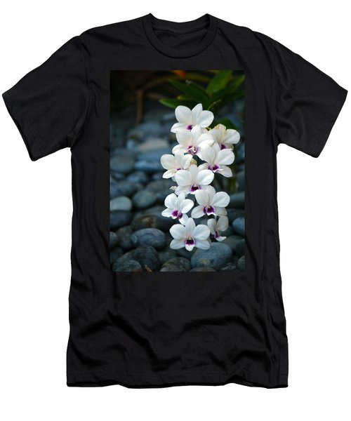 Men's T-Shirt (Slim Fit) featuring the photograph White Orchids by Debbie Karnes