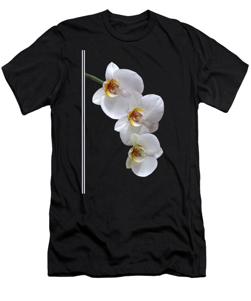 White Orchids On Black Vertical Men's T-Shirt (Slim Fit) by Gill Billington