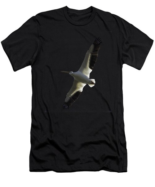 White Pelican In Flight Transparency Men's T-Shirt (Athletic Fit)