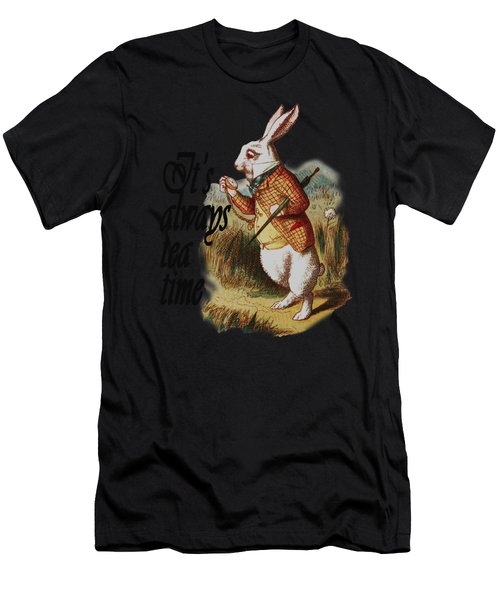 White Rabbit Alice In Wonderland Vintage Art Men's T-Shirt (Athletic Fit)