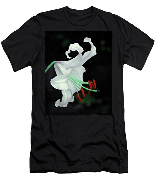 White, Red And Green Lily Men's T-Shirt (Athletic Fit)