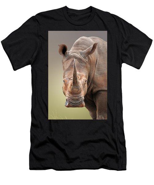 White Rhinoceros Portrait Men's T-Shirt (Athletic Fit)