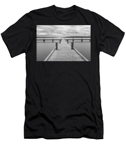 White Rock Lake Pier Black And White Men's T-Shirt (Athletic Fit)
