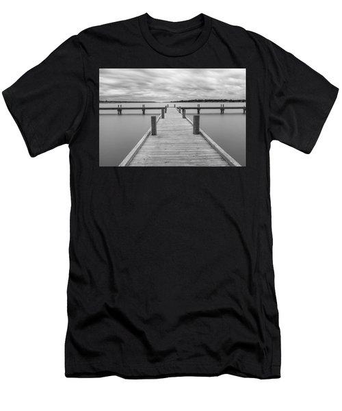 White Rock Lake Pier Black And White Men's T-Shirt (Athletic Fit)