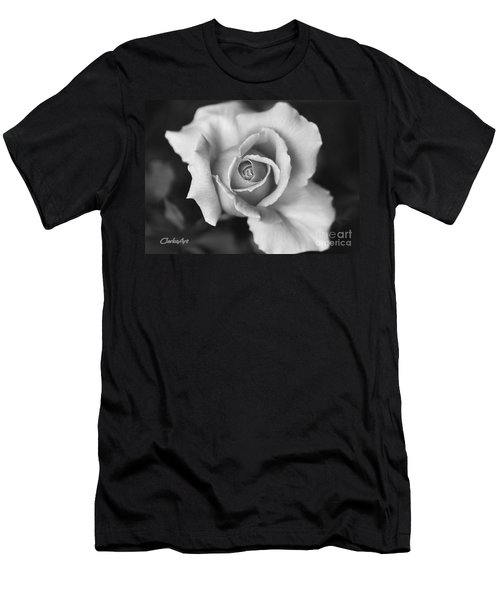 White Rose On Black Men's T-Shirt (Athletic Fit)