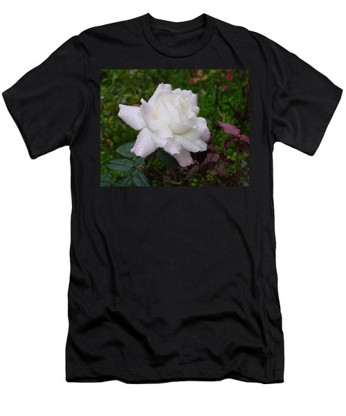 White Rose In Rain Men's T-Shirt (Athletic Fit)