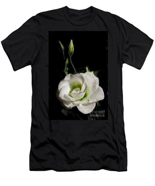 White Rose On Black Men's T-Shirt (Athletic Fit)