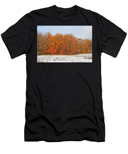 White Snow In Autumn Men's T-Shirt (Athletic Fit)
