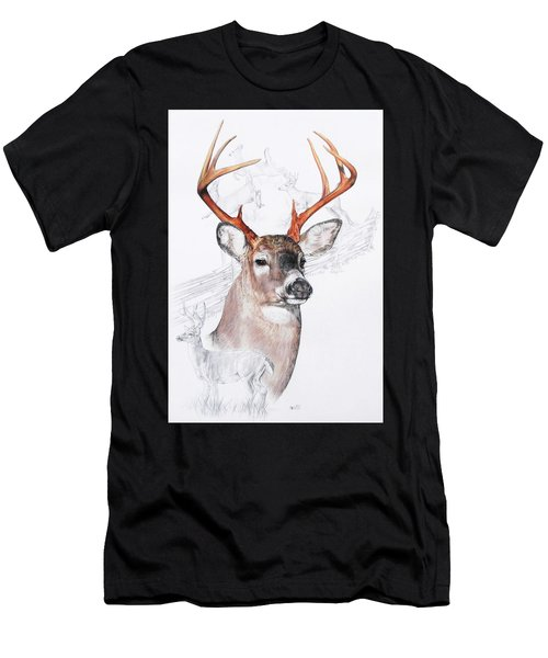 Men's T-Shirt (Athletic Fit) featuring the mixed media White-tailed Deer by Barbara Keith