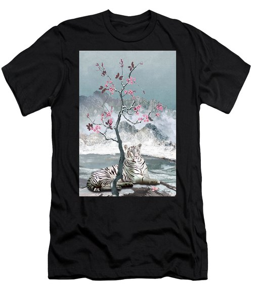 White Tiger And Plum Tree Men's T-Shirt (Athletic Fit)