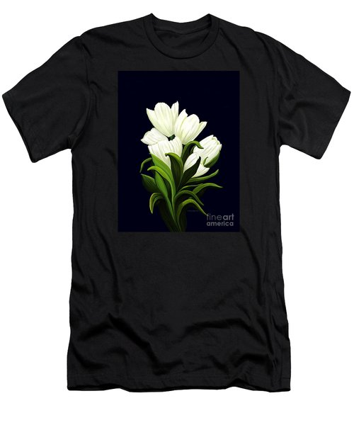 Men's T-Shirt (Slim Fit) featuring the painting White Tulips by Patricia Griffin Brett