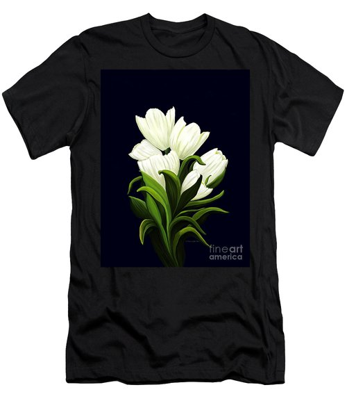 White Tulips Men's T-Shirt (Athletic Fit)