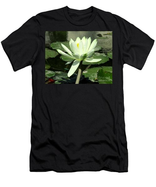 Men's T-Shirt (Slim Fit) featuring the photograph White Water Lily 1 by Randall Weidner