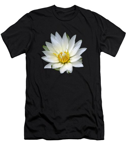Men's T-Shirt (Slim Fit) featuring the photograph White Waterlily With Dewdrops by Rose Santuci-Sofranko