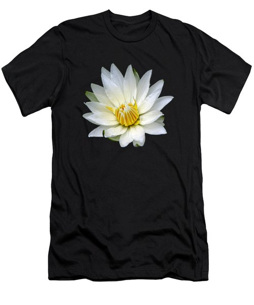 White Waterlily With Dewdrops Men's T-Shirt (Athletic Fit)