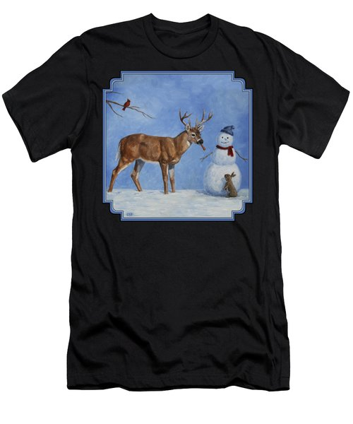 Whitetail Deer And Snowman - Whose Carrot? Men's T-Shirt (Athletic Fit)