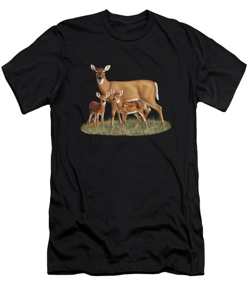Whitetail Doe And Fawns - Mom's Little Spring Blossoms Men's T-Shirt (Athletic Fit)