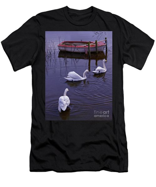 Whooper Swans On River Men's T-Shirt (Athletic Fit)
