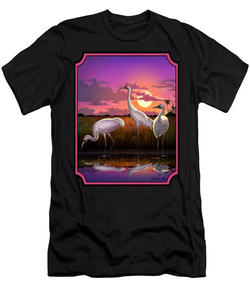 Whooping Cranes Tropical Florida Everglades Sunset Birds Landscape Scene Purple Pink Print Men's T-Shirt (Athletic Fit)
