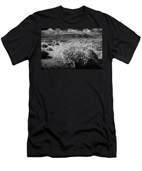 Men's T-Shirt (Slim Fit) featuring the photograph Wild Desert Flowers Blooming In Black And White In The Anza-borrego Desert State Park by Randall Nyhof