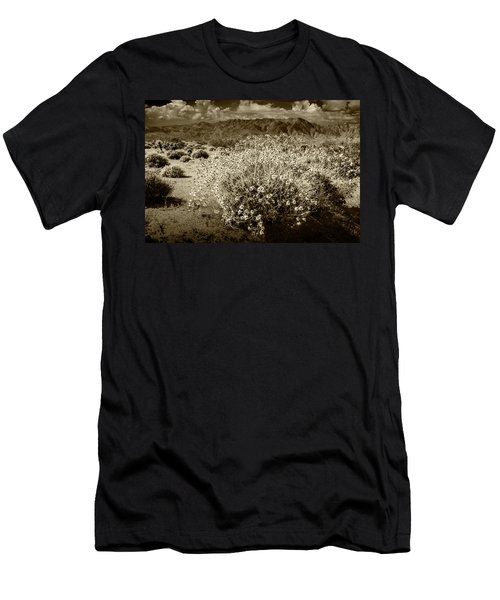 Men's T-Shirt (Slim Fit) featuring the photograph Wild Desert Flowers Blooming In Sepia Tone  by Randall Nyhof