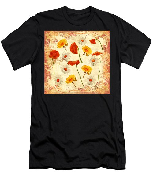 Men's T-Shirt (Athletic Fit) featuring the mixed media Wild Flowers Vintage by Angeles M Pomata