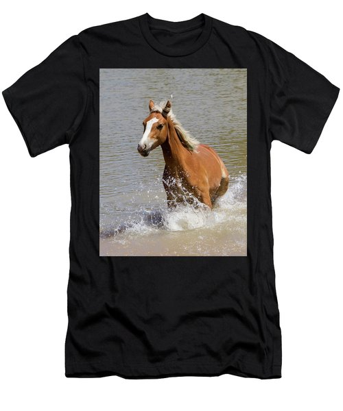Wild Horse Splashing At The Water Hole Men's T-Shirt (Athletic Fit)