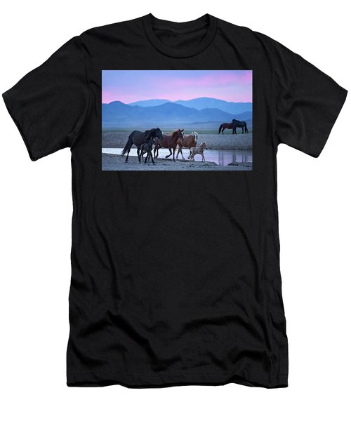 Men's T-Shirt (Athletic Fit) featuring the photograph Wild Horse Sunrise by Wesley Aston