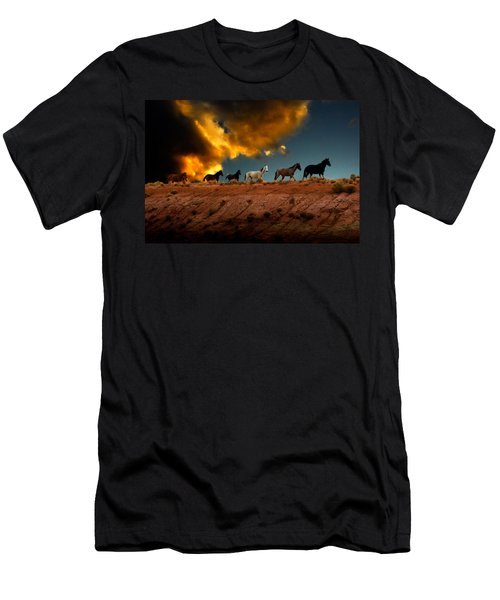 Wild Horses At Sunset Men's T-Shirt (Slim Fit) by Harry Spitz