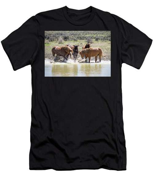 Wild Mustang Stallions Playing In The Water - Sand Wash Basin Men's T-Shirt (Athletic Fit)