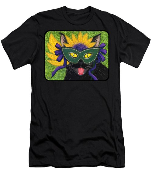 Men's T-Shirt (Slim Fit) featuring the painting Wild Mardi Gras Cat by Carrie Hawks