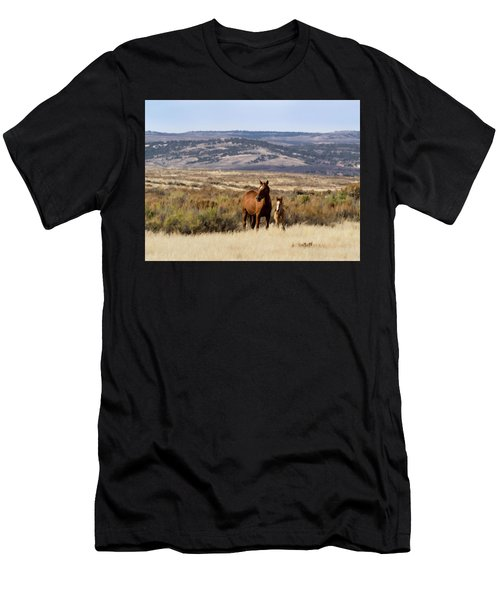 Wild Mare With Young Foal In Sand Wash Basin Men's T-Shirt (Athletic Fit)
