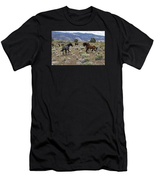 Wild Mustang Stallions Fighting Men's T-Shirt (Athletic Fit)