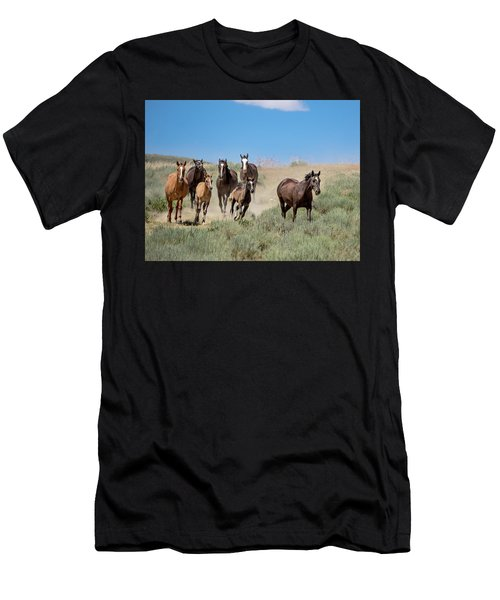 wild mustangs on the run to the water hole in Sand Wash Basin Men's T-Shirt (Athletic Fit)