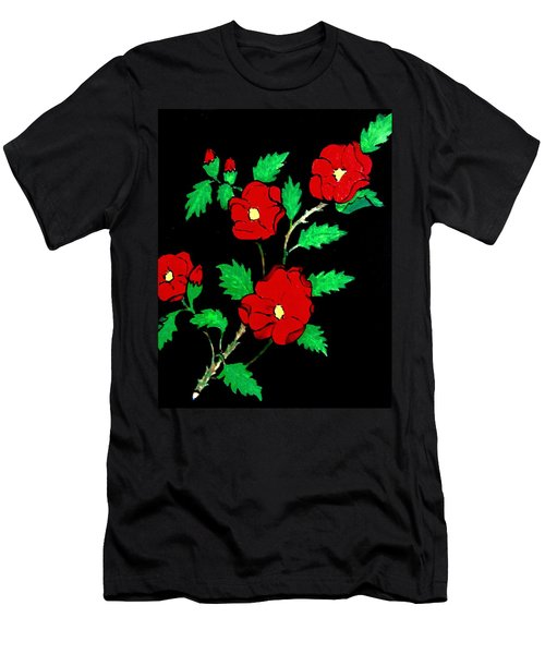 Wild Red Roses Men's T-Shirt (Athletic Fit)