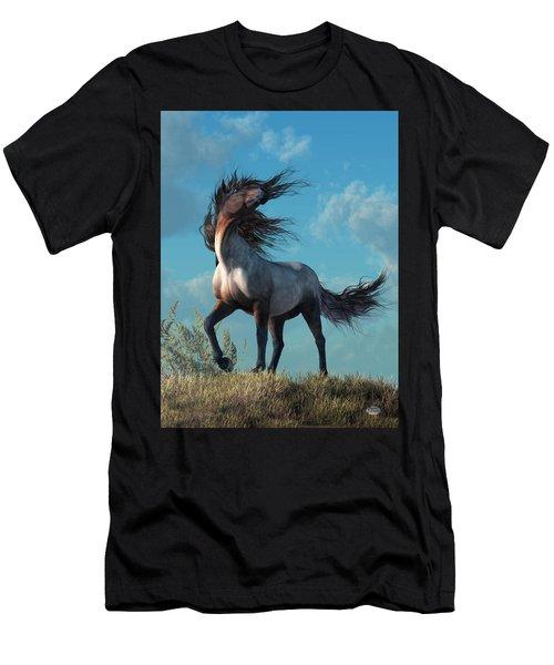 Men's T-Shirt (Athletic Fit) featuring the digital art Wild Roan by Daniel Eskridge