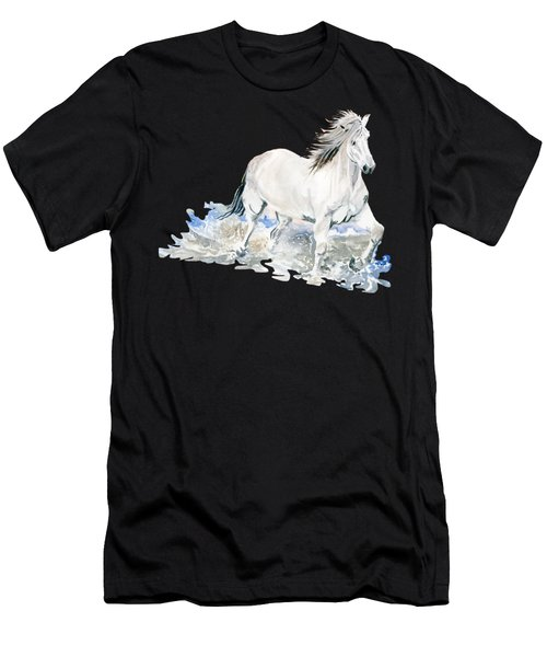Wild White Horse  Men's T-Shirt (Slim Fit) by Melly Terpening