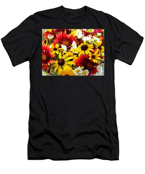 Men's T-Shirt (Athletic Fit) featuring the digital art Wildflower Riot by Shelli Fitzpatrick