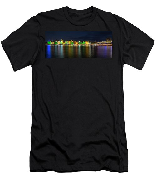Men's T-Shirt (Athletic Fit) featuring the photograph Willemstad And Queen Emma Bridge At Night by Adam Romanowicz