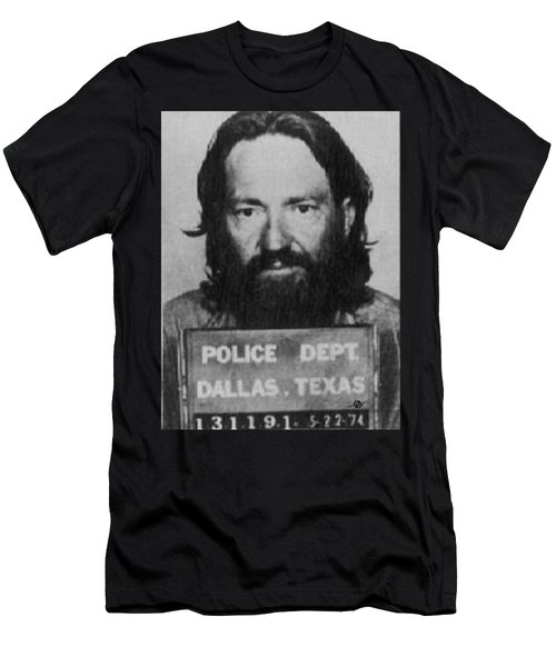 Willie Nelson Mug Shot Vertical Black And White Men's T-Shirt (Athletic Fit)