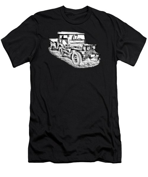 Willys World War Two Army Jeep Illustration Men's T-Shirt (Athletic Fit)