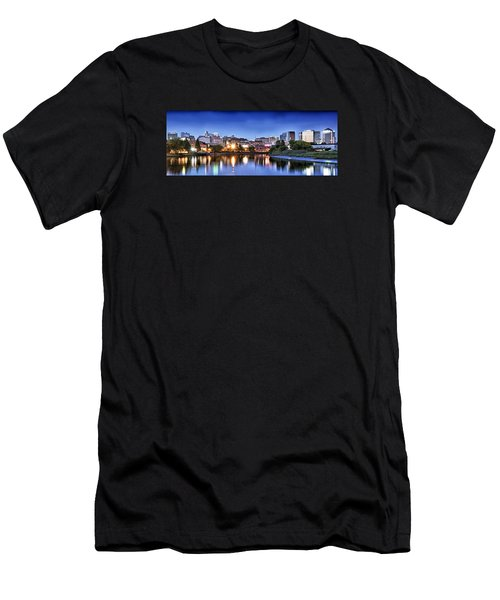 Wilmington Delaware - Skyline At Dusk Men's T-Shirt (Slim Fit) by Brendan Reals