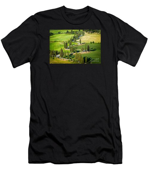 Men's T-Shirt (Athletic Fit) featuring the photograph Winding Cypress Lined Road Of Monticchiello by IPics Photography