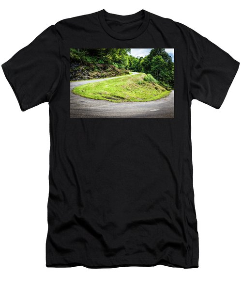 Winding Road With Sharp Bend Going Up The Mountain Men's T-Shirt (Slim Fit) by Semmick Photo
