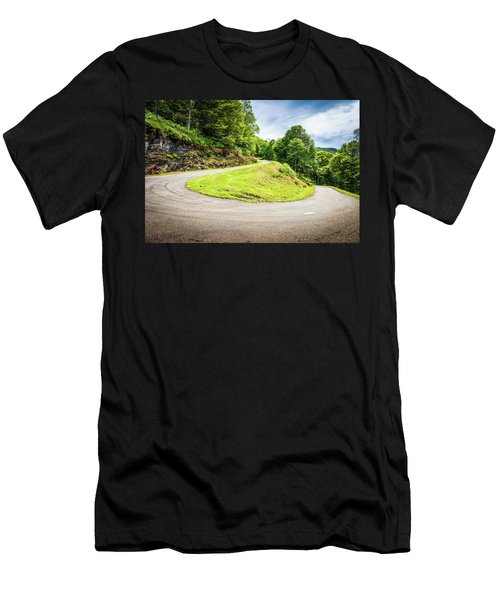 Winding Road With Sharp Curve Going Up The Mountain Men's T-Shirt (Slim Fit) by Semmick Photo